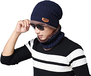 AVIGOR Beanie Hat Scarf Set Winter Warm Hats Knit Slouchy Thick Skull Cap for Men and Women (Blue, One Size)
