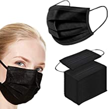 50PCS black disposable face shield for protection 3-ply breathable dust proof