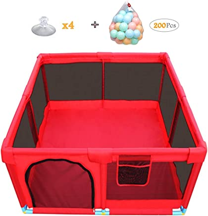 WJSW Baby Toys Nursery Furniture Playpen and Ball Pit Set for Babies Square Toddler Fence Safety Barrier 128x66cm Red
