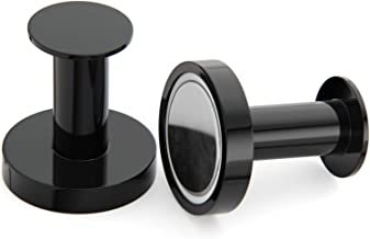 Mavoro Strong Magnetic Hooks for Hanging Coats and Bags. Set of 2 Black Magnet Hooks Heavy Duty Magnets, Neodymium 52 Rare Earth Magnets. Push Pin Style Magnet Hook for Refrigerator, Locker etc