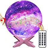 Starry Moon Lamp Sleep Sound Machine Build-in Bluetooth/White Noise/Lullaby, Remote Control/Timer/Dimmable/Rechargeable Nightlight, Gift 2 Kids&Adult