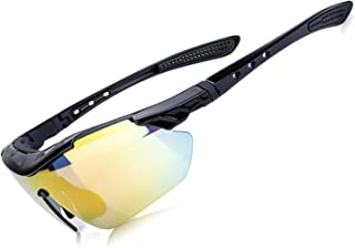 AOKNES Polarized Sports Sunglasses Cycling Fishing Hiking Golf UV400 Glasses for Men Women + 3 Lens