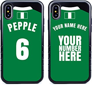 Custom Nigeria Flag Soccer Jersey Cases for iPhone X/XS by Guard Dog – Personalized – Put Your Name and Number on a Phone Case. Includes Screen Protector (Black,Black)