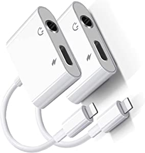 [Apple MFi Certified] 2 Pack Headphone Adapter for iPhone,iPhone Adapter for Headphone Jack and Charger 2 in 1 Lightning to 3.5mm AUX Audio + Charger Splitter for iPhone 12/11/XS/XR/X 8 7/iPad