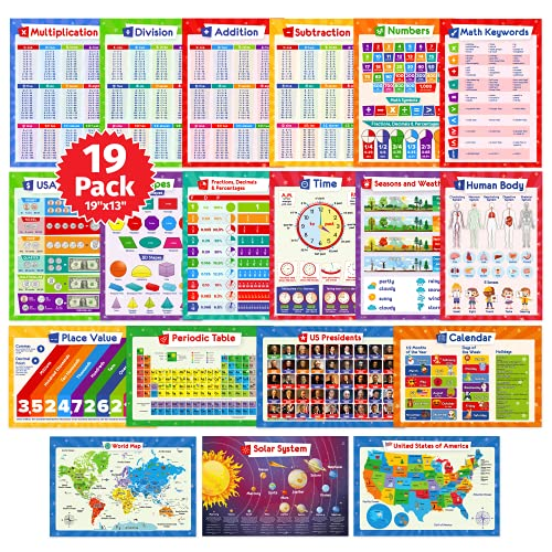 19 Educational Posters for Kids - Multiplication Chart Table, Periodic Table, USA Map, World Map, Solar System, Division Addition, Classroom Posters, Homeschool Supplies, Classroom Decorations - 19x13