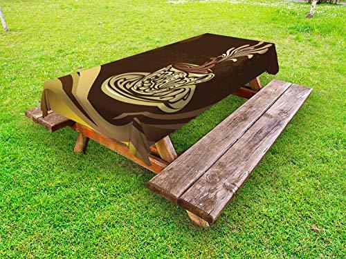 ABAKUHAUS Koffie Tafelkleed voor Buitengebruik, Sier ontwerp van de koffiemok, Decoratief Wasbaar Tafelkleed voor Picknicktafel, 58 x 104 cm, Brown en Multicolor