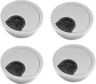 Computer Cables GTFS-Hot 4 Pcs Round Shape Silver Tone Plastic Desk Grommet Table Hole Cover Cable Length: Other