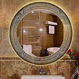 LBSI Espejo De Baño LED Redondo, Espejo Maquillaje con Iluminado Luz Pared, Función De Voz AI, 3 Colores Ip54