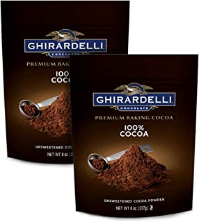Ghirardelli Chocolate Unsweetened Cocoa Pouch, 8 Ounce   2-Pack