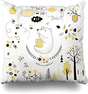 Ahawoso Throw Pillow Cover Funny Baby Cute Bear Beehive Bee Adorable Tree Doodle Flower Honey Kid Design Decorative Cushion Case 20x20 Inches Square Home Decor Pillowcase