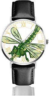 Watch Dragonfly Personalized Wrist Watches Quartz Stainless Steel and PU Leather Personalized Custom for Unisex