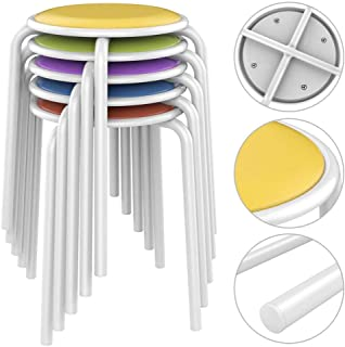 Yaheetech Metal Stack Stool with Plastic Padded Seat for Classroom,Offices and Homes, Assorted Colors Pack of 5