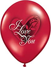 "LA Balloons 37187 ""I Love You Red Rose"" Qualatex Latex Balloons (50 Pack), 11"", Ruby Red"