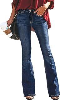 f8eb5662cba GUNLIRE Women's Juniors Bell Bottom Flare Jeans High Waisted Stretch Wide  Leg Long Pants