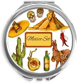 Sombrero Mexico Pyramid Desert Cactus Mexican Mirror Round Portable Hand Pocket Makeup