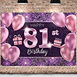PAKBOOM Happy 81st Birthday Banner Backdrop - 81 Birthday Party Decorations Supplies for Women - Pink Purple Gold 4 x 6ft