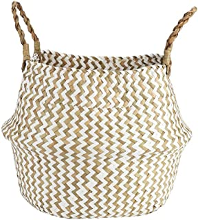 Laundry Basket, Natural Seagrass Woven Storage Basket with Handles Foldable Laundry Hamper Bucket for Storage Bin,Kids Roo...