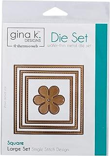 Gina K. Designs for Therm O Web 3 Nested Square Dies Plus Unique Bonus Shape Single Stitch Design Large Set