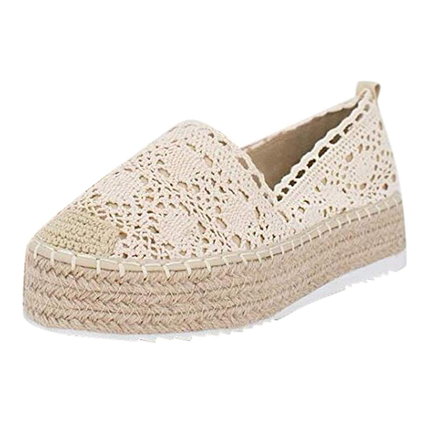 Haalife??Women's Espadrille Loafers Casual Slip On Comfortable Sneakers - Comfortable Lace Flat Shoes