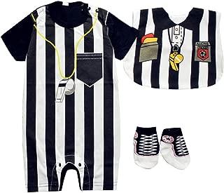 Baby Toddler Referee Romper Bib Socks Shoe Shirt Outfit Set