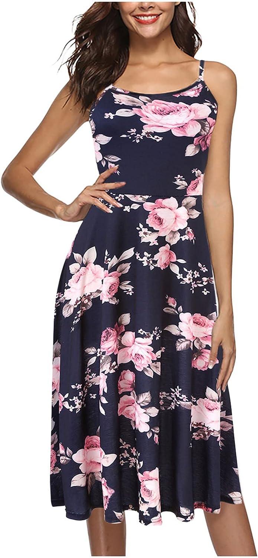 ESULOMP Women's Summer Dresses Casual Sleeveless Beach Dress A Line Spaghetti Strap Sundresses with Pockets