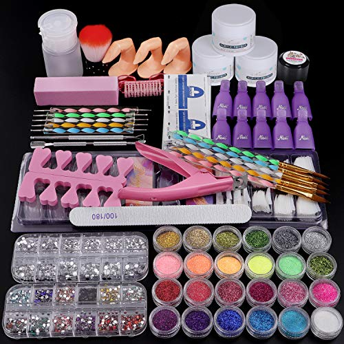 Cooserry 79 in 1 Acrylic Nail Kit Set - 24 Acrylic Nail Glitter Powder with Rhinestones For Nail Art Decoration - Gel Nail Remover Kit for Nail Beginners Supplies