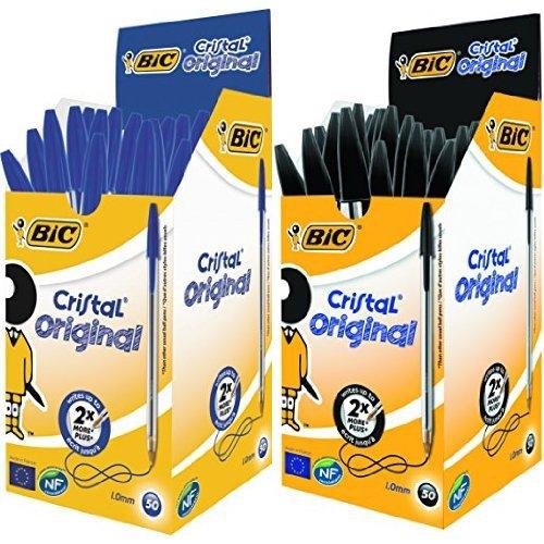 Bic - Pack 50 unidades bolígrafo Cristal color azul + 50 unidades bolígrafo Cristal color negro