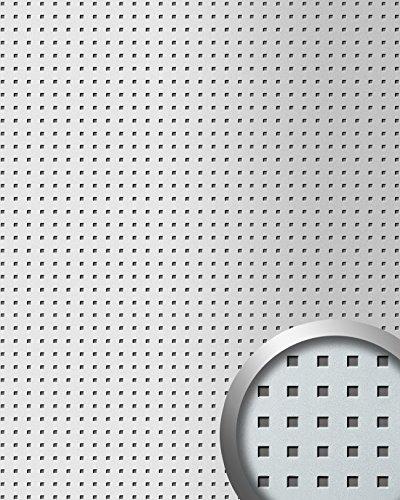Wandpaneel plakfolie plakplastic keukenkastjes WallFace 10988 3D QUAD RVS muurbekleding vierkant design zilver 2,60 m2