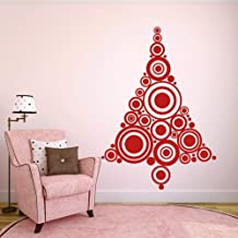 Retro Christmas Tree Sticker Christmas Tree Decal Xmas Festive Decoration Christmas Home Art Decor Dark Red
