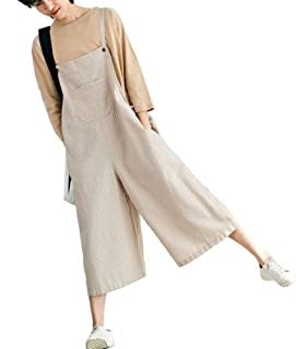 ad854fb4608a Aeneonture Women s Linen Casual Cropped Wide Leg Rompers Overalls Drop  Crotch Pants Jumpsuit