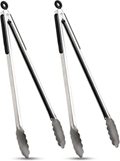 VOXLOVA Premium Locking Grill Tongs Set of 2-16 inch Heavy Duty Long Kitchen BBQ Tongs for Barbecue Cooking Grilling, Stai...