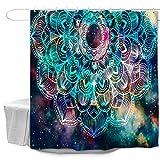 Oduo Duschvorhänge für Badewannen - Mandala Stil Duschvorhang Wasserdicht Antischimmel Bad Vorhang Waschbar Badewanne Vorhang mit 10 oder 12 Duschvorhangringe (Sternenklarer Himmel,90x180cm)
