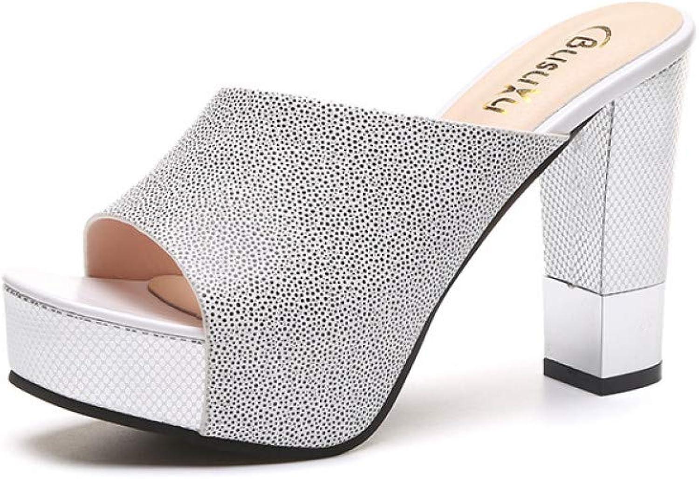 UKJSNHH igh Heels Fashion Summer Women Elegant Pink High Heel Sandals Peep Toe Platform shoes Crystal Chunky Heel shoes Lady T