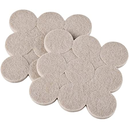 Okayji Self Adhesive Felt Material Pads for Furniture Floor Scratch Protection Round Shape (Grey) 18 Pieces