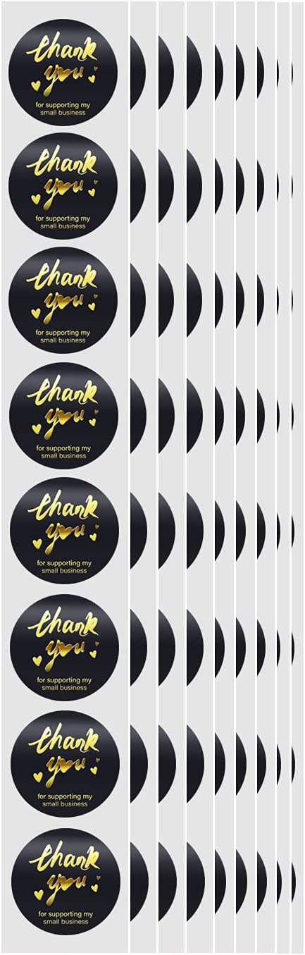 1 Inch Thank You Stickers Roll of 1000pcs,Font Bronzing,Strong Adhesive, for Baking Packaging,Envelope Seals, Small Business,Tags for Wedding,Birthday,Party, Wrap Bag(Black)