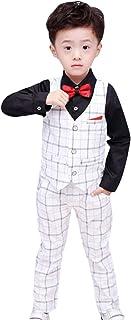 C-Princess 子供服 男の子 フォーマル スーツ チェック柄 4点セット シャツ ベスト ロングパンツ 蝶ネクタイ ジュニア キッズ ボーイズ 入学式 結婚式 発表会