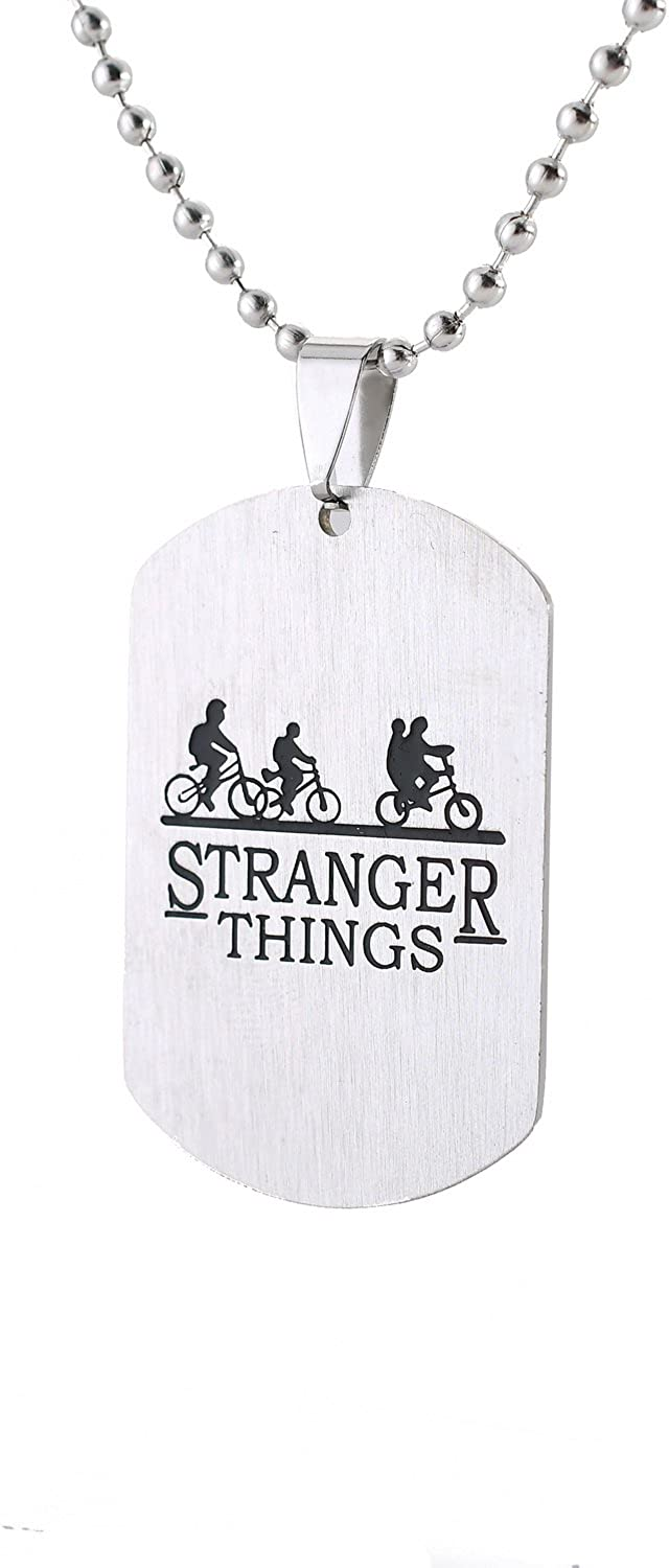 Blerameng Stranger Things Bicycle Tag Necklace