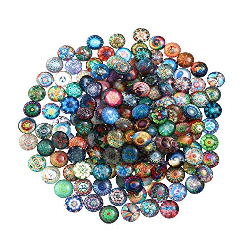 ULTNICE 200pcs Cabochons Round Mosaic Tiles for Crafts Glass Mosaic for Jewelry Making 12mm
