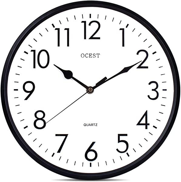 OCEST 13 Inch Indoor Outdoor Wall Clock Large Display Battery Operated Quartz Decorative Clock Silent Non Ticking Round Easy To Read For Pool Garden Patio Office Living Room