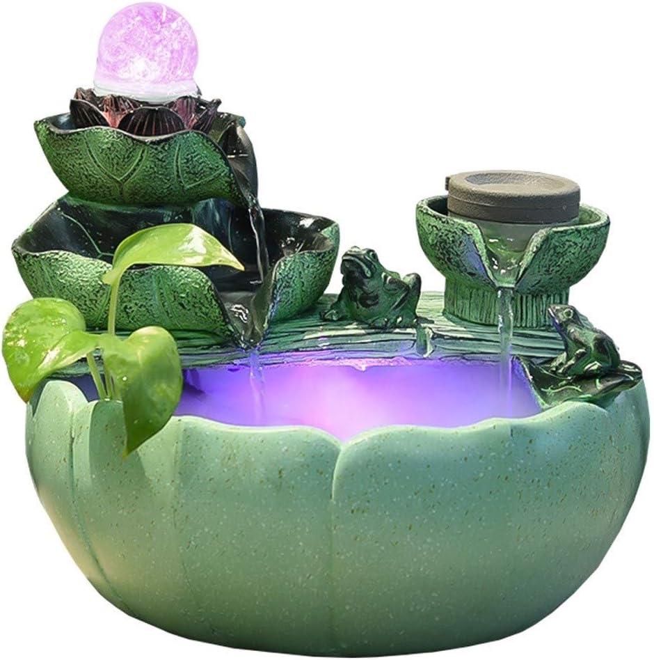 Interior Inicio Decoración afortunada Fuentes de interior Fuentes creativas de mesa Fuentes de transferencia Acuario Regalo Nebulizador Artesanías decorativas ( Color : Green , tamaño : 23*23*22cm )