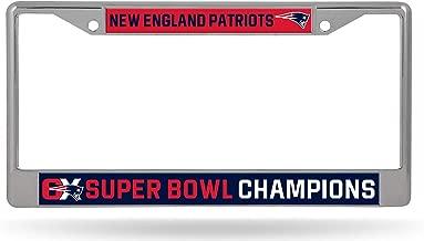 Eletina pig Industries New England Patriots 6X Super Bowl Champions Chrome Frame License Plate Cover