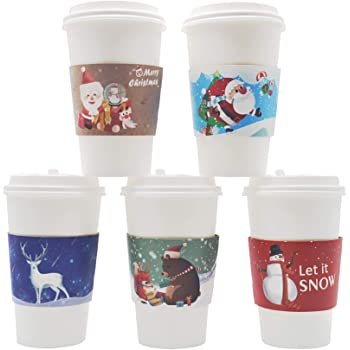 Amazon Com Dshe Holiday Coffee Cup Sleeve 30 Packs Tea Cup Sleeves 6 Different Christmas Themes Paper Coffeecup Sleeves For Disposable Party Cups 12 And 16oz Cup Jacket Kitchen Dining