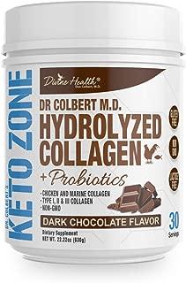 Dr. Colbert's Divine Health Keto Zone Hydrolyzed Type I, II & III Chicken + Marine Collagen Powder with Probiotics (Dark Chocolate) Non-GMO, Gluten Free, Supports Healthy Skin