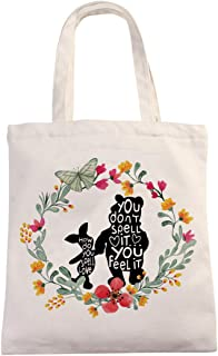 Chillake Inspirational Winnie The Pooh Quote Natural Cotton Canvas 12 Oz Reusable Hand Made Tote Bag - Cute Winnie The Poo...