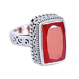 Anillo de plata de ley 925 con piedras preciosas de cornalina para mujer FSJ-5854