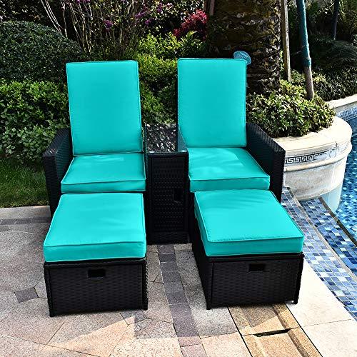 B BAIJIAWEI 5pcs Patio Wicker Loveseat - Outdoor Rattan Sofa Set with Cushion - Adjustable Lounge Chair with Ottoman Footrest, Wicker Furniture for Garden, Patio, Balcony, Beach, Coffee Bar, Deck