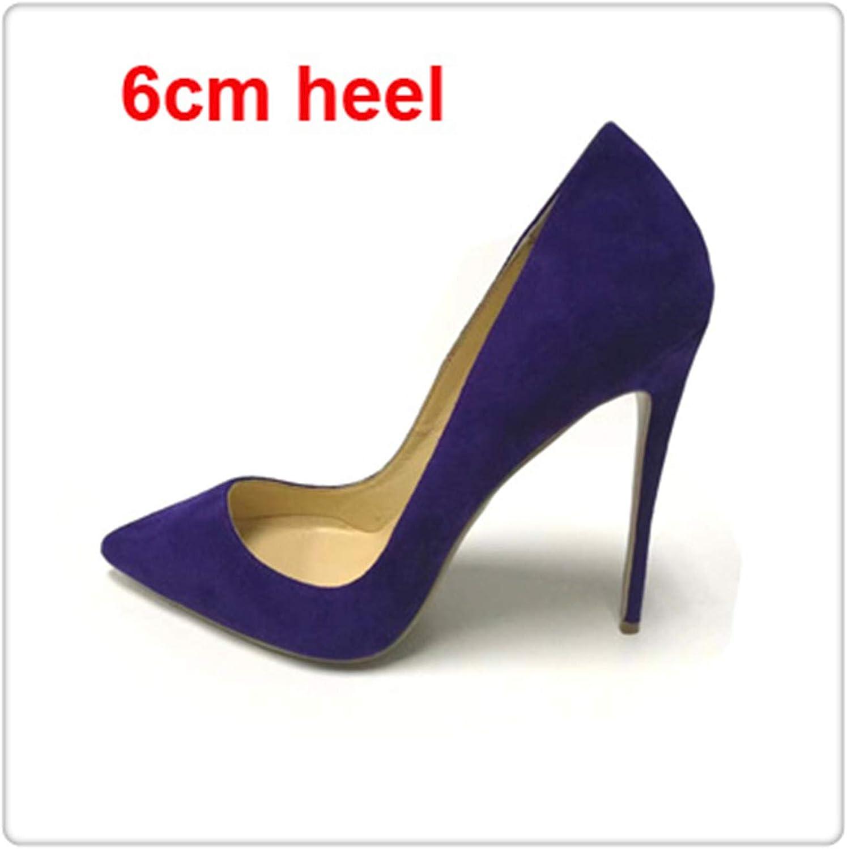 KKEPO& Plus Size Kid Suede Classical Shallow Women Dress shoes 6cm 8cm 10cm 12cm Thin High Heels Sexy Woman Party Pumps bluee Suede 6cm 10