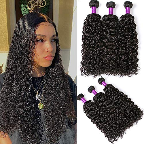 Human Hair Water Wave Bundles Wet and Wavy Curly Weave Human Hair Bundles 8A Unprocessed Brazilian Human Virgin Hair Weave 3 Bundles Can be Dyed and Bleached Natural Wave Hair Extensions20 22 24