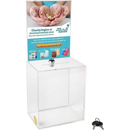 My Charity Boxes - Large Donation Box - Ballot Box - Suggestion Box - Acrylic Box - Tip Box- with Large Display Area