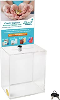 MCB - Large Donation Box - Ballot Box - Suggestion Box - Acrylic Box - Tip Box- with Large Display Area … (2 Pack)